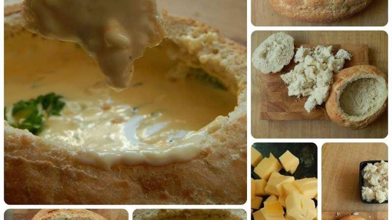 Easy fondue in a bread bowl