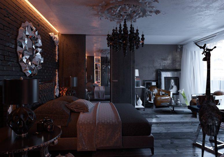 Crna spavaća soba uređena u gotičkom stilu