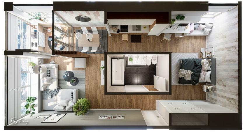 Kreativan mali stan smješten oko centralno postavljene kupaonice