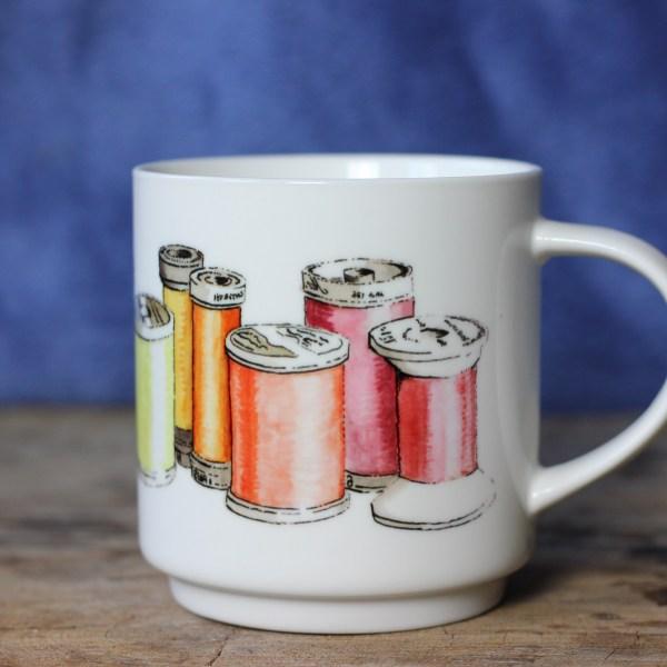 sewing thread aquarelle mug by ArteMie