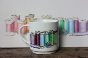 Sewing thread mug by ArteMie with original aquarelle