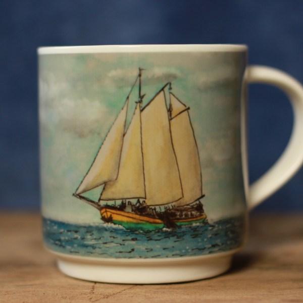 Clipper Kaat Mossel aquarelle mug by ArteMie