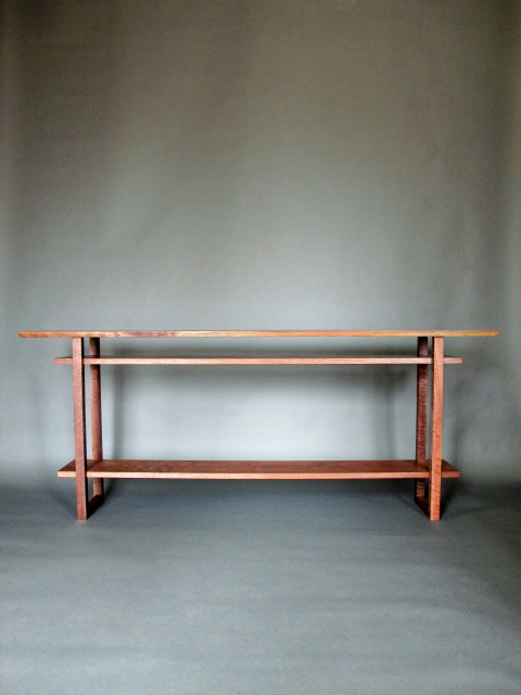 A Long Narrow Console Table With 2 Shelves Handmade