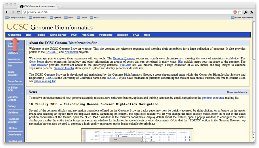 ucsc genome browser main page