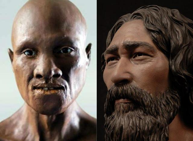 Facial reconstructions of the Oase I individual (L), and the Kennewick man (R). Image courtesies: The Smithsonian Magazine  (http://thumbs.media.smithsonianmag.com//filer/51/9f/519fea8a-a215-48fe-ba09-fae09a0bb3e3/kennewick-hero.jpg__800x600_q85_crop.jpg), Dons Maps (http://donsmaps.com/romaniancaveskull.html)