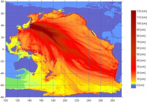 Energy map of the tsunami from NOAA