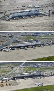 This combination of three photos taken over a six month period shows the March 11 tsunami and its aftermath at Sendai Airport in Sendai, Miyagi prefecture, northern Japan. The top photo taken March 11, 2011 shows the tsunami engulfing the airport immediately after an earthquake. The middle photo, taken June 3, 2011 and the bottom photo, taken Sept. 6, 2011 show the restored and reopened airport. © AP / Kyodo News