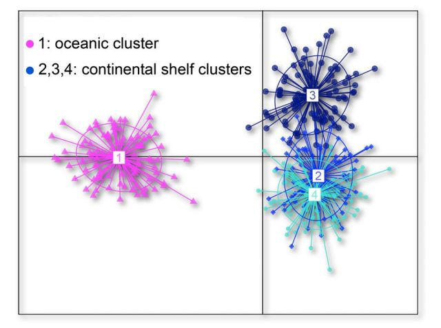 Fig. 2 Genetic clusters identified using 19 microsatellite loci (DAPC).