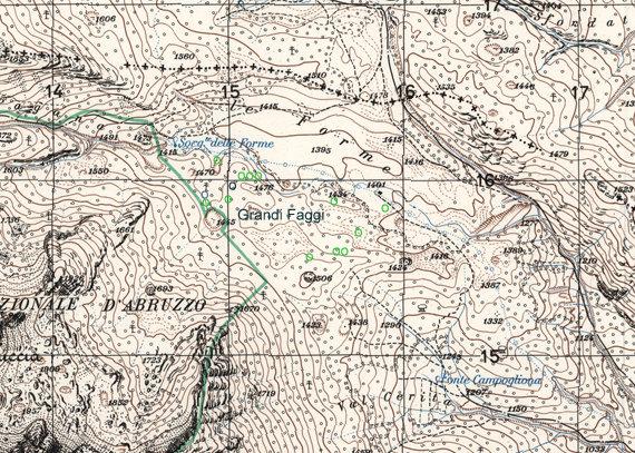 Pizzone - Alfedena Cartografia località Le Forme e l'ubicazione di alcuni esemplari di  faggio
