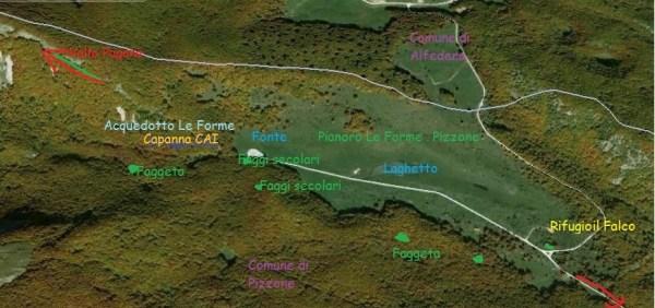 Pizzone Cartografia località Le Forme