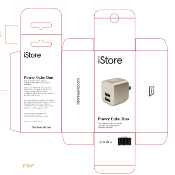 iStore Power Cube Duo Full Packaging Schematic