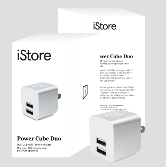 iStore Power Cube Duo Full Packaging and Product Silver