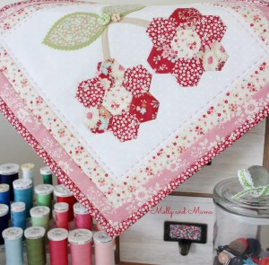 Sewing room style - a cherry hexie mini by Molly and Mama