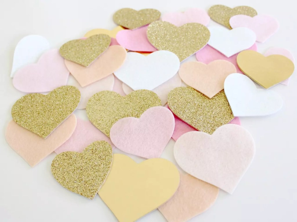 peach, pink and gold felt heart ~ Molly and Mama