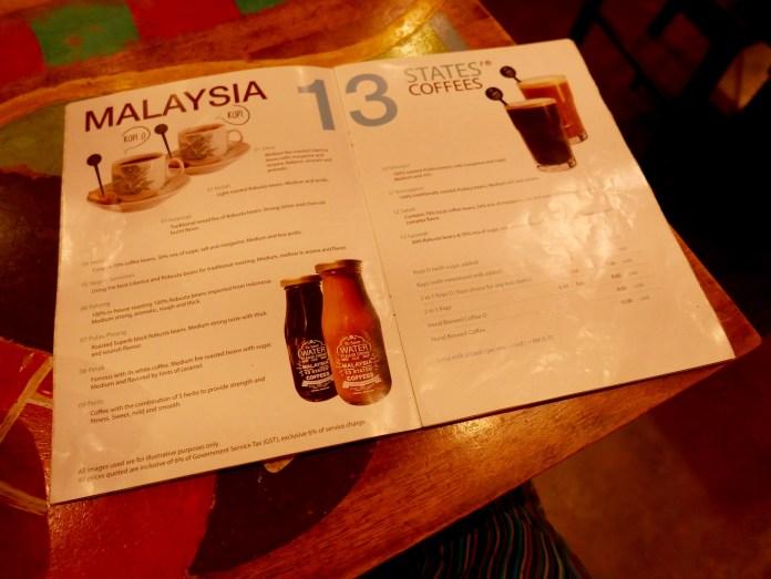 Calanthe Art Cafe, 13 Estates, Melaka, Malaysia, coffee menu
