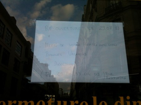 Aug in Paris= Closed