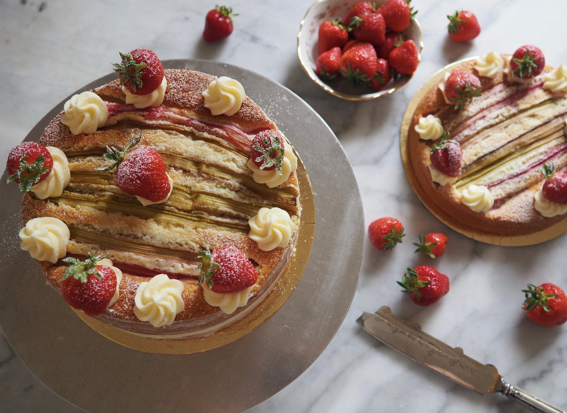 Rhubarb Stripe Cake with Lemon and Ginger