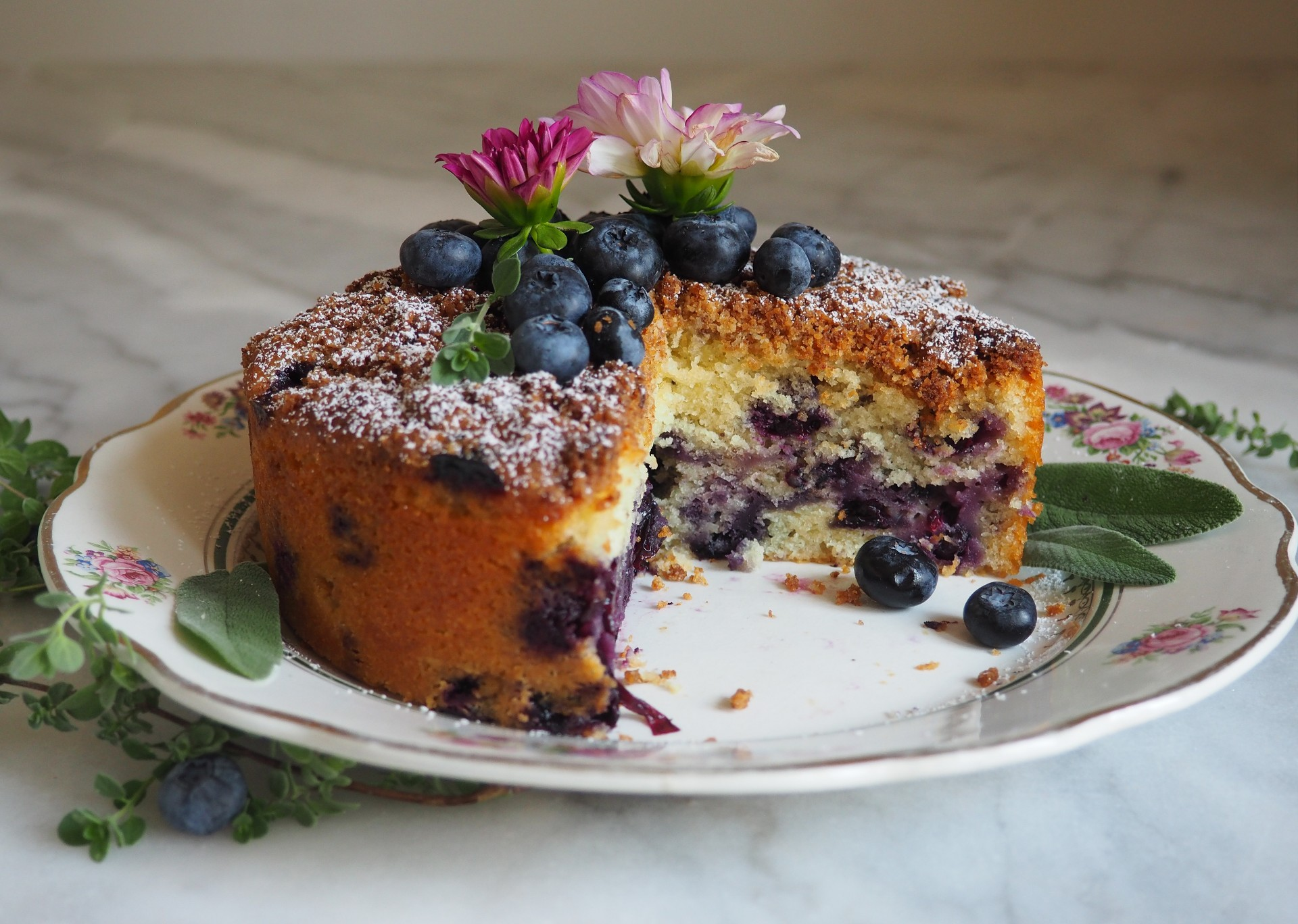 Coconut Blueberry Tea Cake
