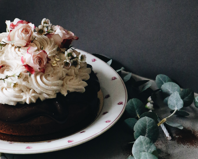 Chocolate Chestnut Cake with Chocolate Ganache and whipped Chestnut frosting decorated with roses and gold