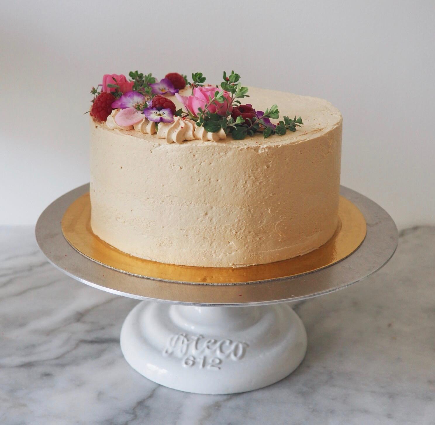 Cardamom & Coffee Cake with fresh Raspberries & Chocolate Ganache