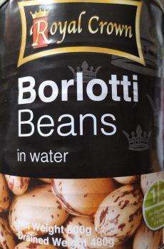 A tin of borlotti beans