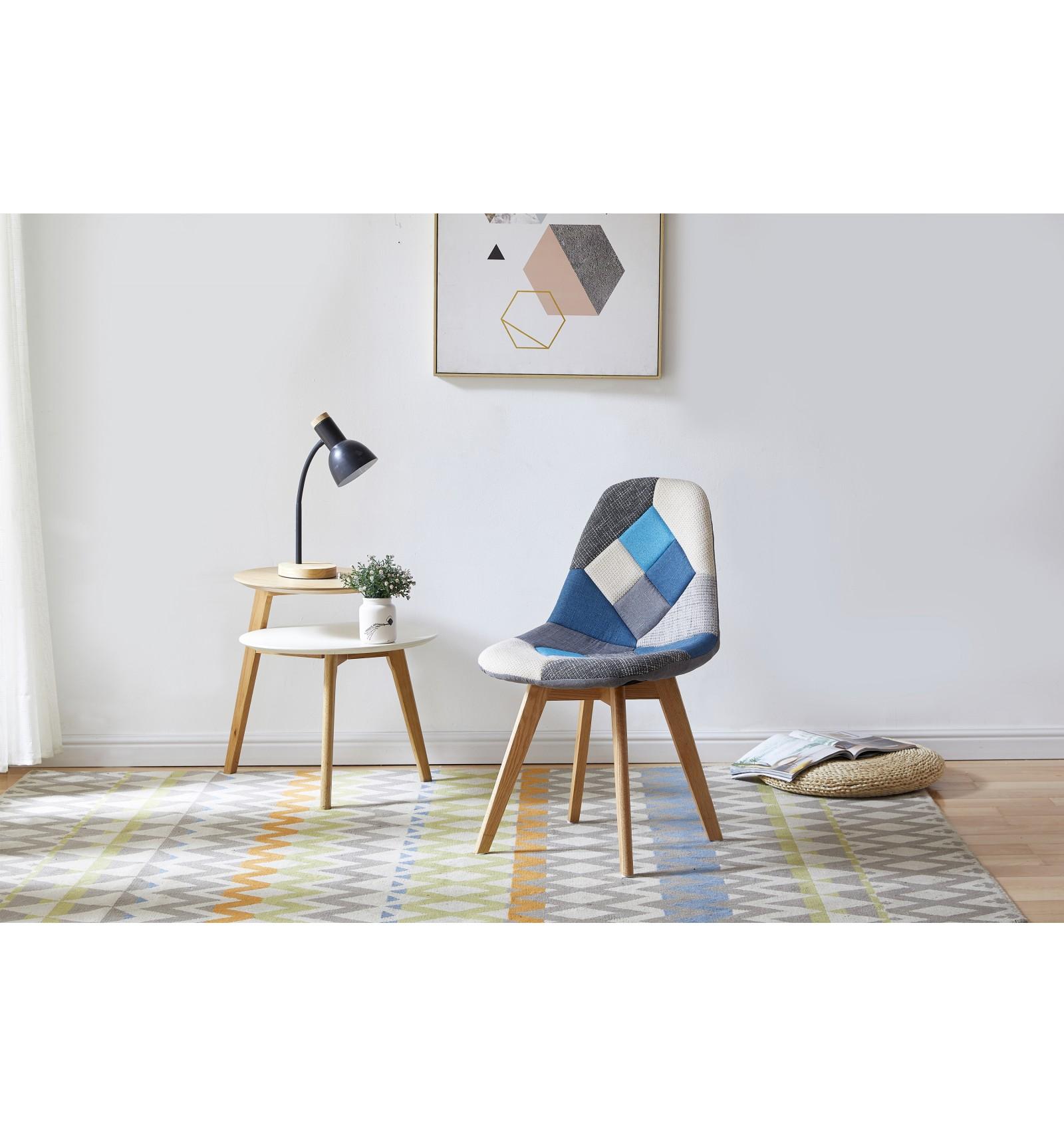 chaise scandinave patchwork bleu gris