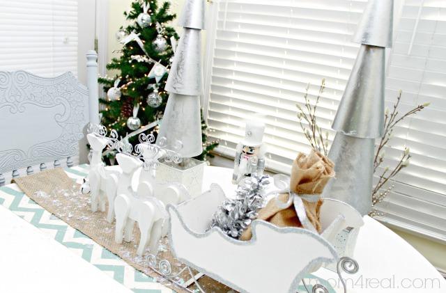 White and Silver Santa Sled