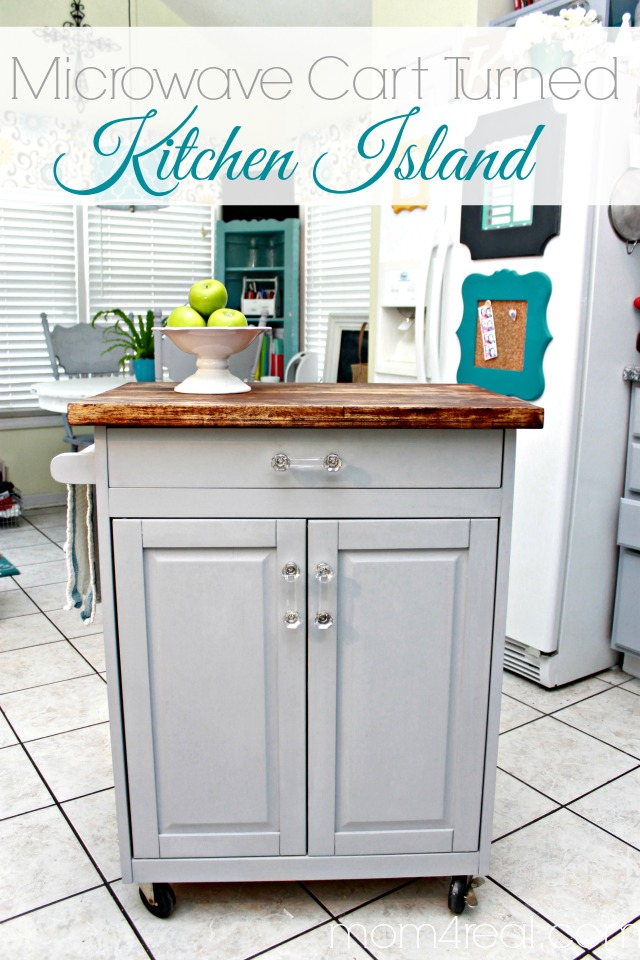 microwave cart turned kitchen island