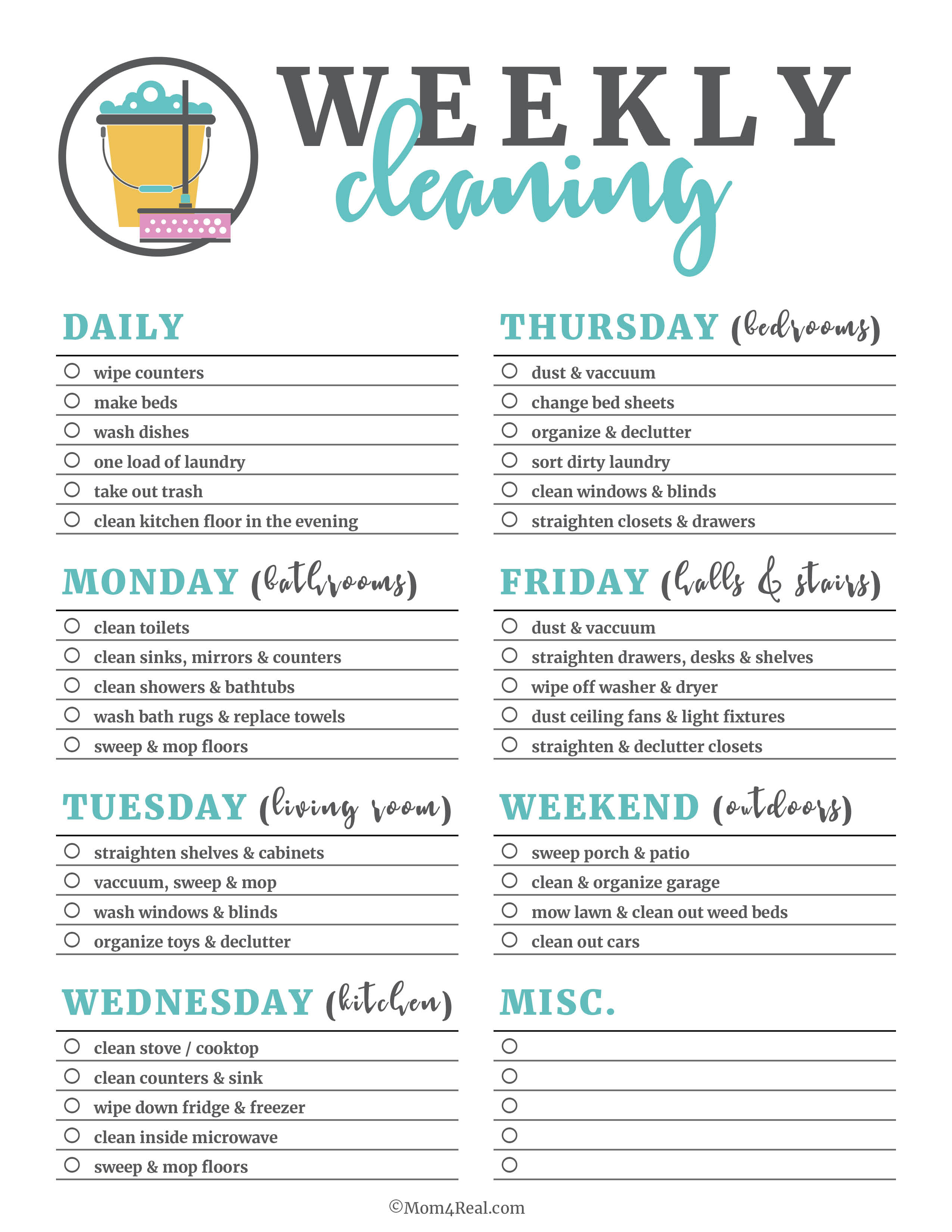 Printable Cleaning Checklists For Daily Weekly And