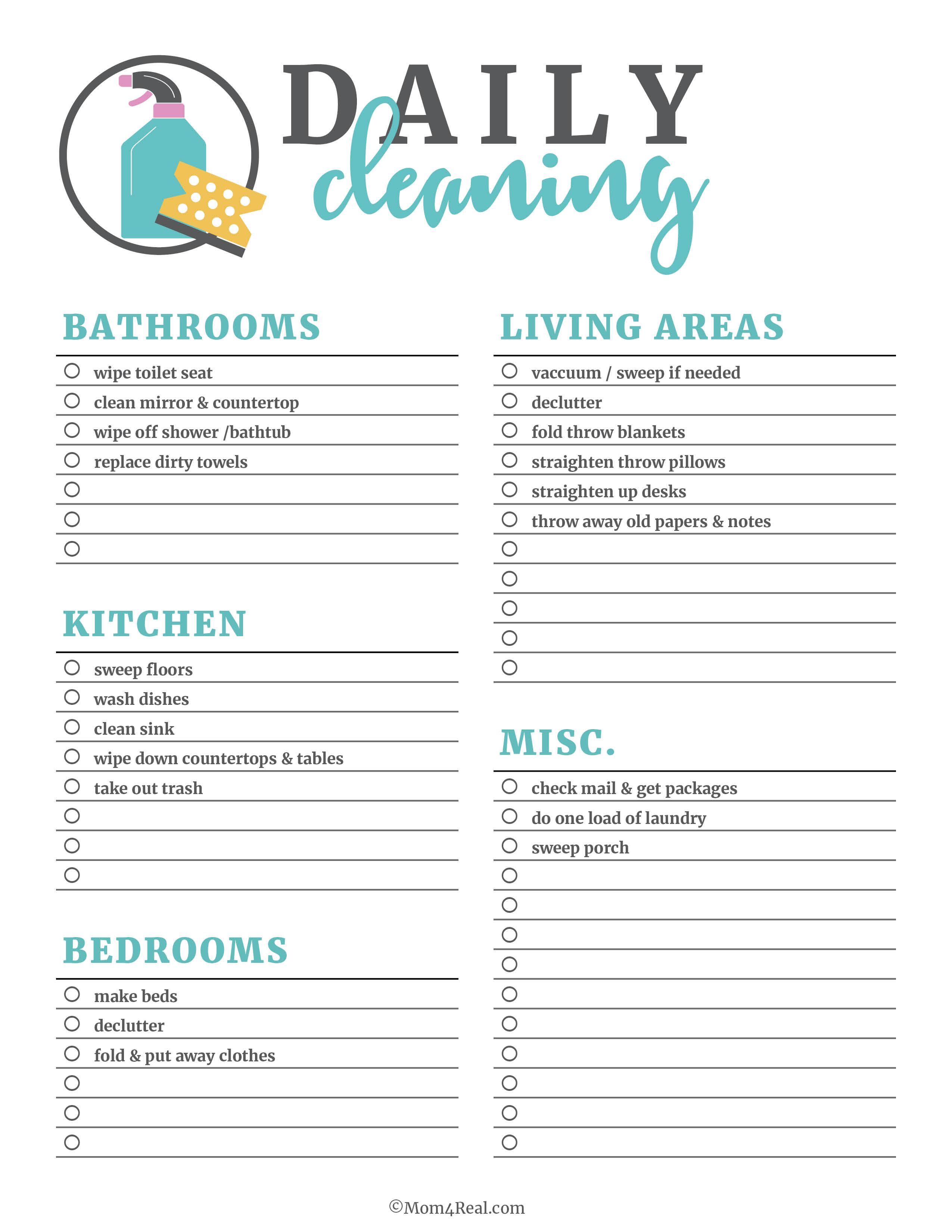 Housekeeping Printable Worksheet