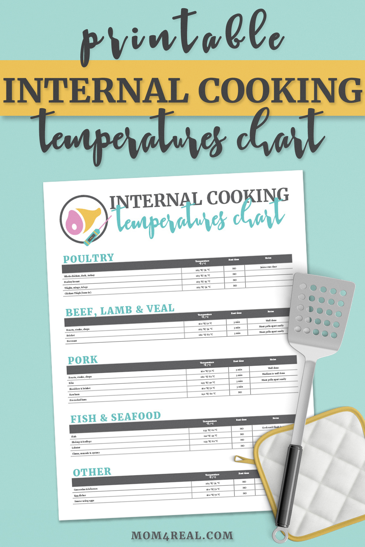 Printable Meat Temperature Safety Chart And Food Safety Tips