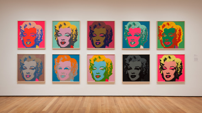 Installation view of Andy Warhol: Campbell's Soup Cans and Other Works, 1953–1967 at The Museum of Modern Art, April 25–October 12, 2015. Photo: Jonathan Muzikar. © 2015 The Museum of Modern Art, New York.Shown:  Andy Warhol. Marilyn Monroe. 1967. Portfolio of 10 screenprints, each composition and sheet: 36 x 36″ (91.5 x 91.5 cm). The Museum of Modern Art. Publisher: Factory Additions, New York. Printer: Aetna Silkscreen Products Inc., New York. Edition: 250. The Museum of Modern Art, New York.Gift of Mr. David Whitney, 1968. © 2015 Andy Warhol Foundation for the Visual Arts/Artists Rights Society (ARS), New York