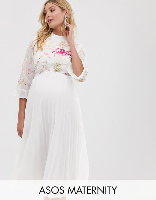 ASOS-Maternity embroidered pleated midi dress