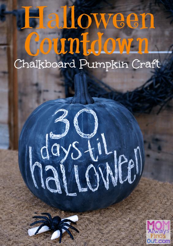 DIY Halloween Countdown Chalkboard Pumpkin Craft Idea