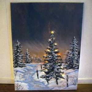 Kerst DIY | Kerst schilderij met LED verlichting