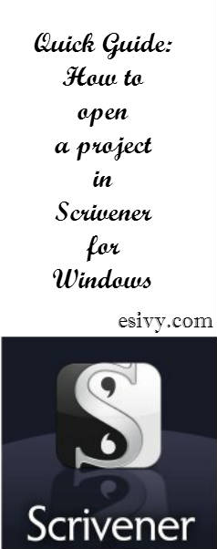 scrivener quick guide to open files
