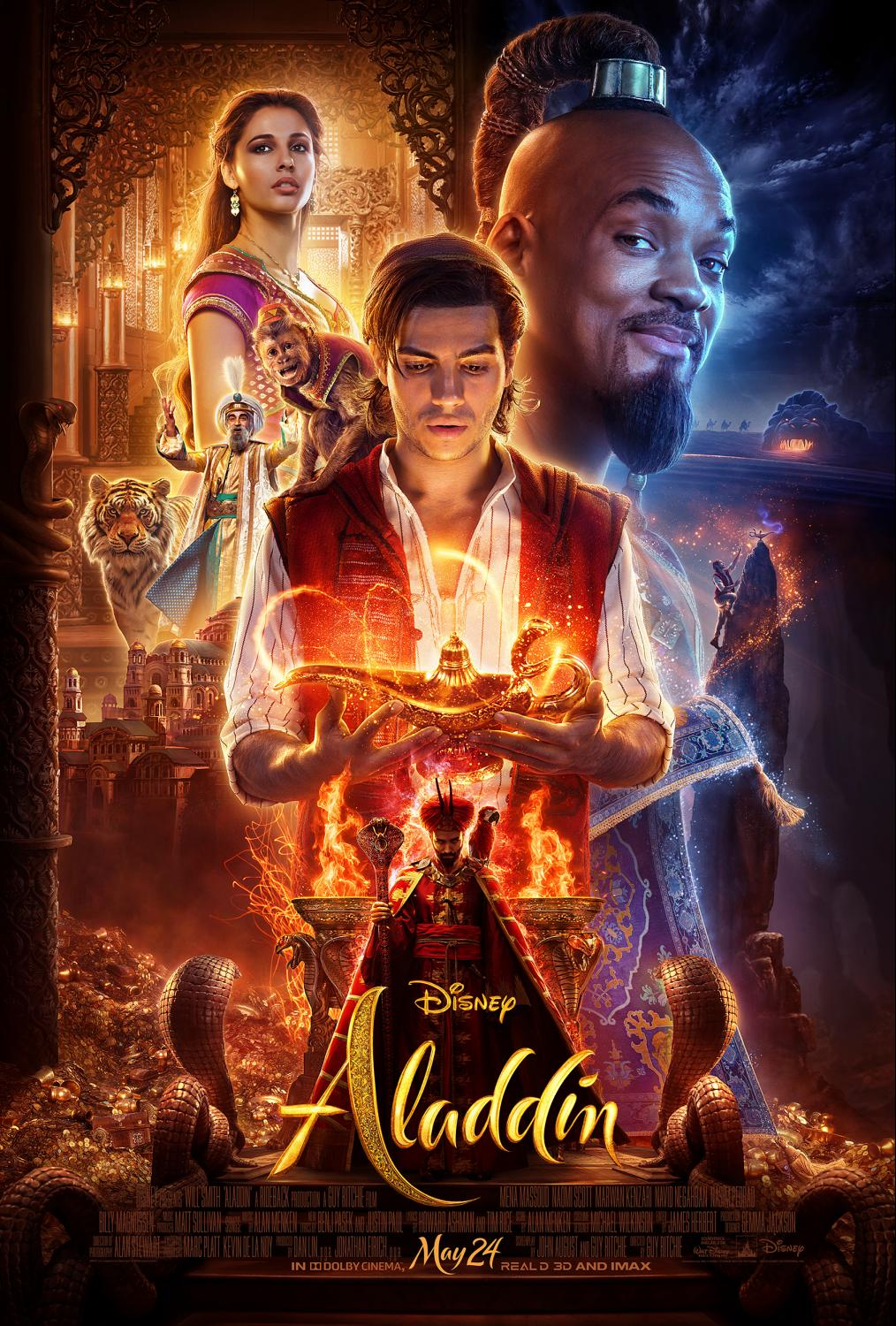 Will Disney's live action 2019 Aladdin be a great family movie or too scary for kids? See the official trailer! Disney Aladdin Poster #Aladdin