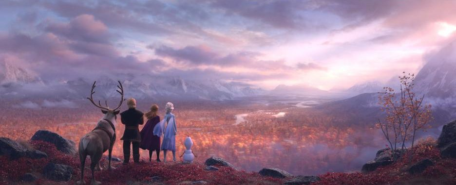 Frozen 2 characters looking over a valley scene