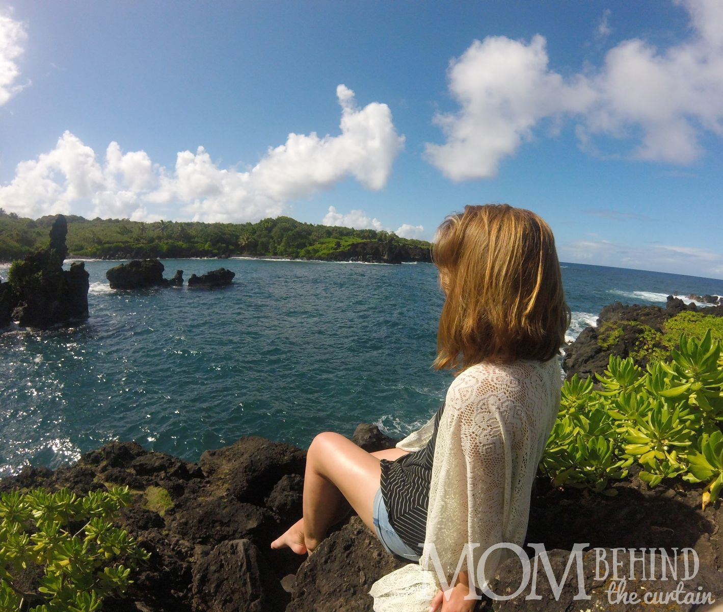 Road to Hana - black sand beach - photo taken with with GoPro.