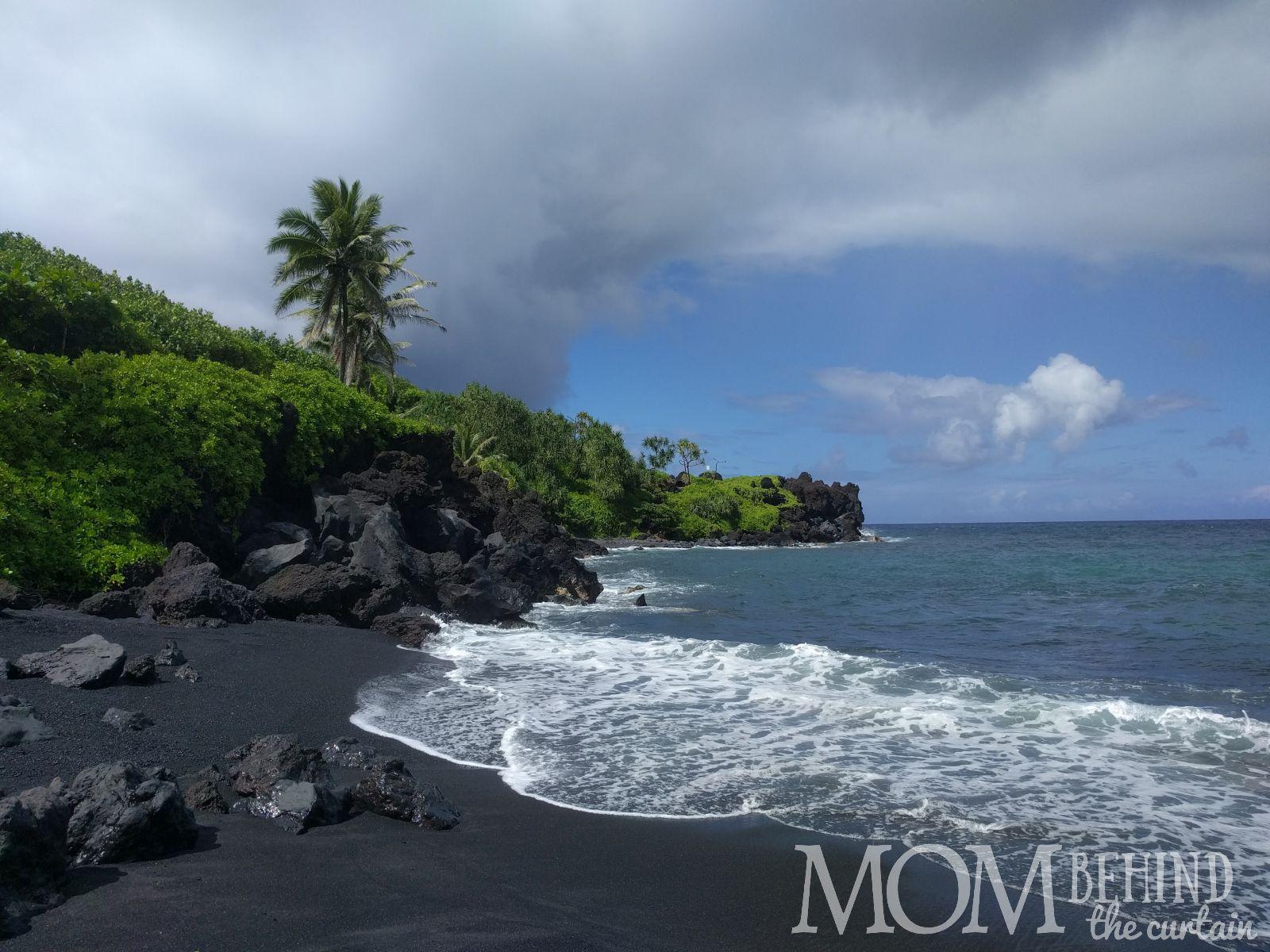 view of black sand beach, Road to Hana, Maui