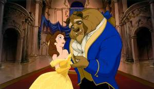 Belle and the Beast from the original animated film.