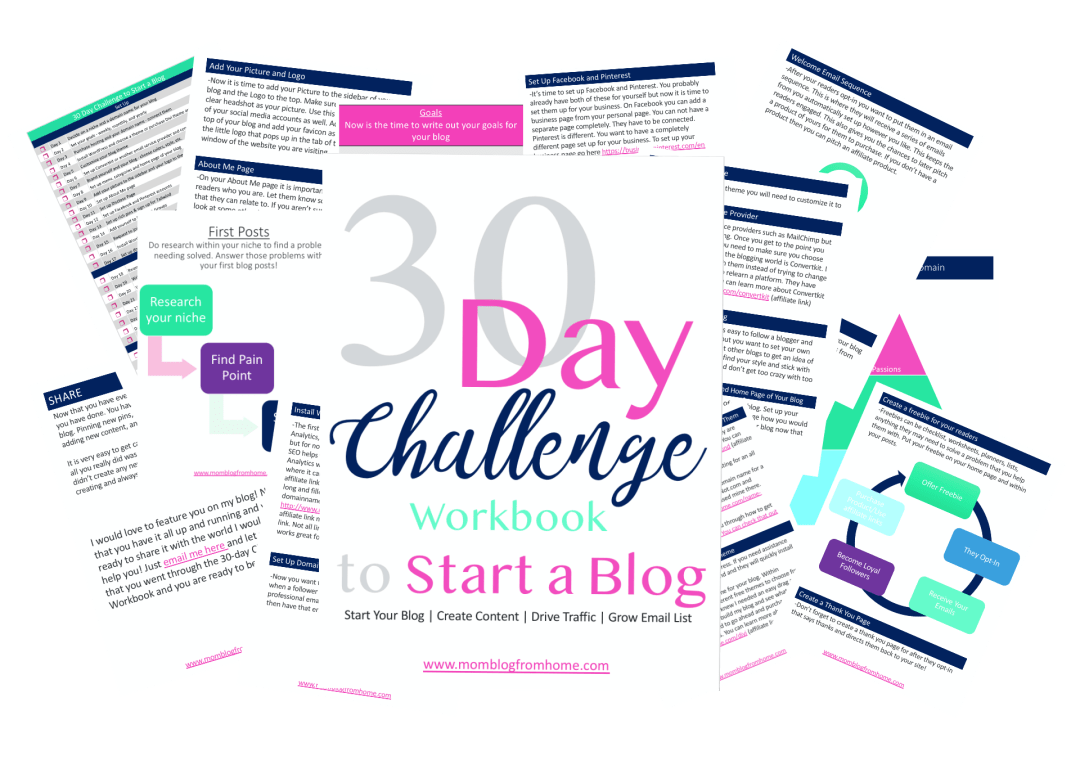30 day challenge to start a blog - mom blog from home