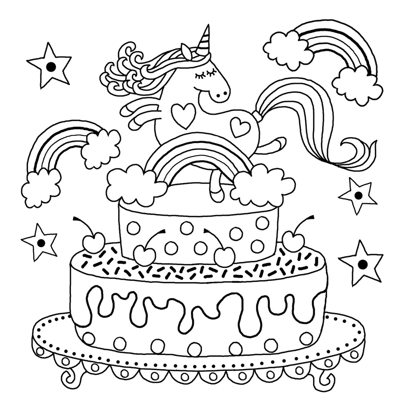 Downloadable Unicorn Colouring Page