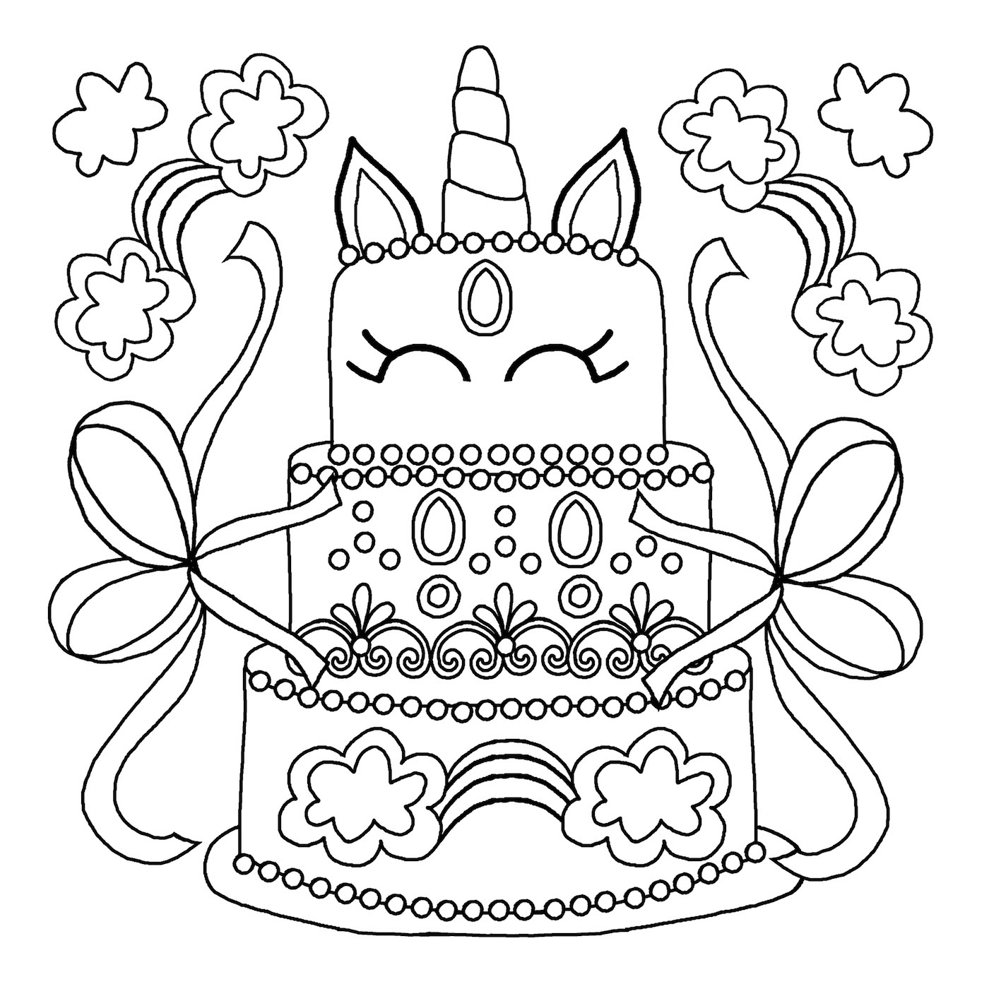 Unicorn Colouring Book Pages 3
