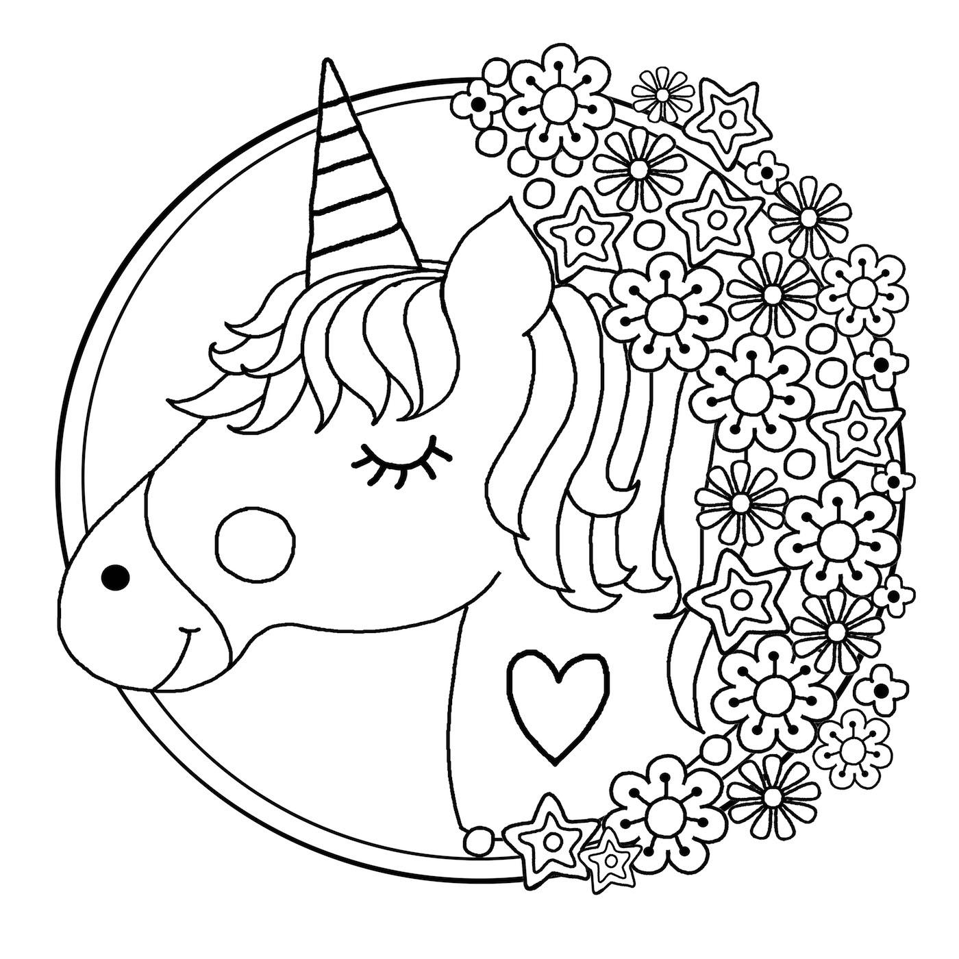 Downloadable Unicorn Colouring Page
