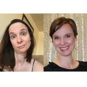 Before and After. In both photos, I've only washed and air-dried my hair. #SlackerMomWin
