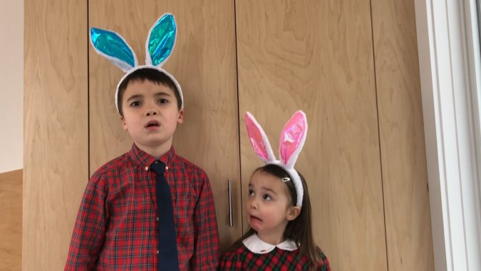 Kids wearing Easter bunny ears and Christmas outfits from Easter Mom Hacks Slacker Mom's Guide to Easter Easy Last Minute Easter Outfits for Kids MomCave