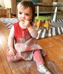toddler covered in ashes after climbing in fireplace