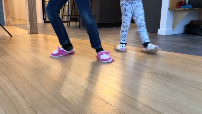 snow day activity indoors -- trick kids into cleaning with dusting slippers