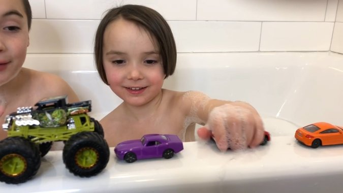 Toy Car Wash in the Bathtub is a great thing to do indoors on a snow day with kids